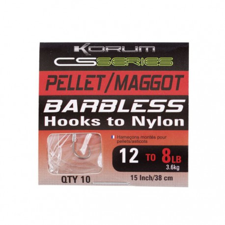 Korum Size 16 CS Serie Barbless Hooks to Nylon Pellet - Maggot