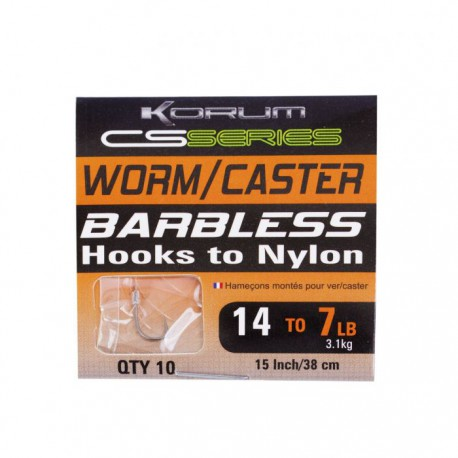 Korum CS Serie Barbless Hooks to Nylon Worm - Caster Haak 14