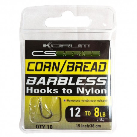 Korum Size 14 CS Serie Barbless Hooks to Nylon Corn - Bread