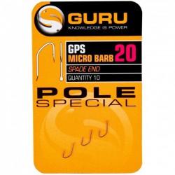 Guru Size 20 Pole Special Spade End Barbed Hook