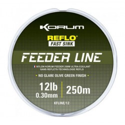 Korum 6 LB - 0.23 mm Feeder Line Reflo Fast Sink 250 meter
