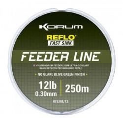 Korum 10 LB - 0.28 mm Feeder Line Reflo Fast Sink 250 meter