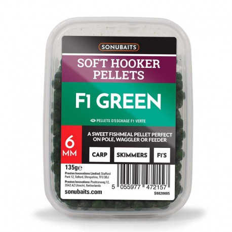 Sonubaits F1 Green Soft Hooker Pellets 6mm
