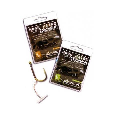Korum Barbless Hook Hairs With Quickstops Size 16