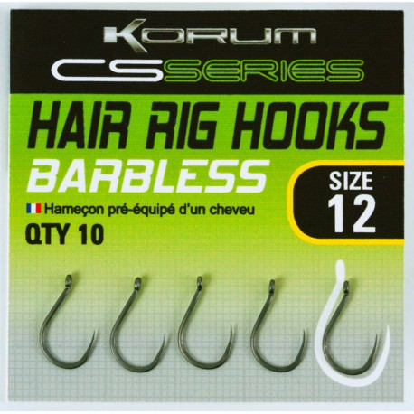 Korum CS Series Hair Rig Barbless Haak Size 18