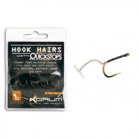 Korum Size 6 Barbed Hook hairs & With Quickstops